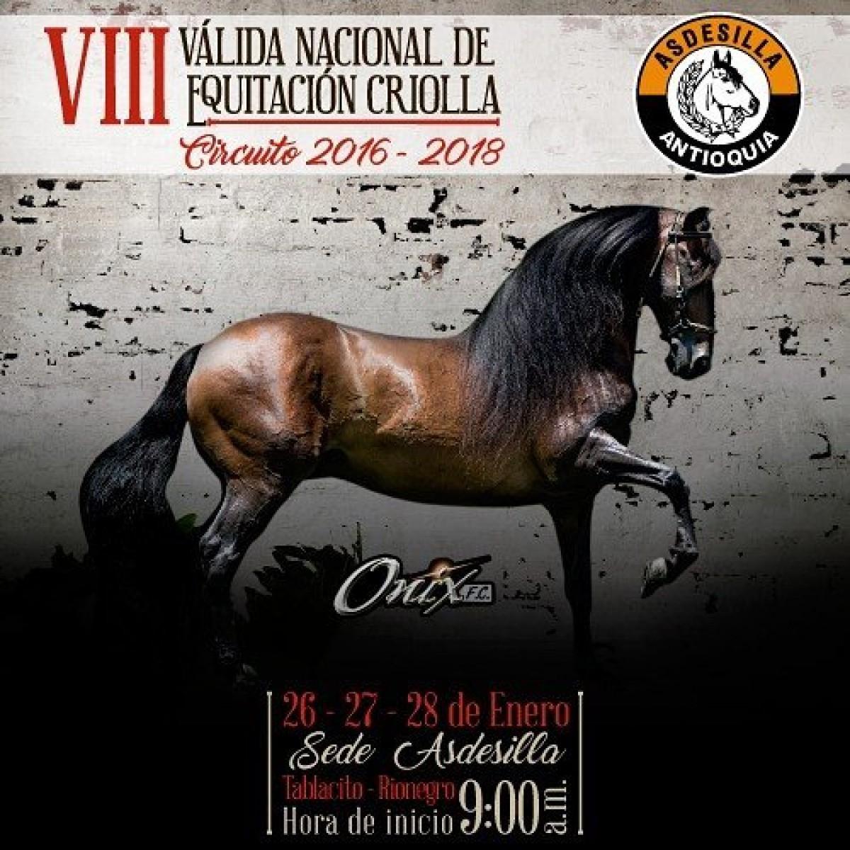 TRANSMISIÓN VIII Válida Nacional De Equitación Criolla, Del 26 al 28 de Enero