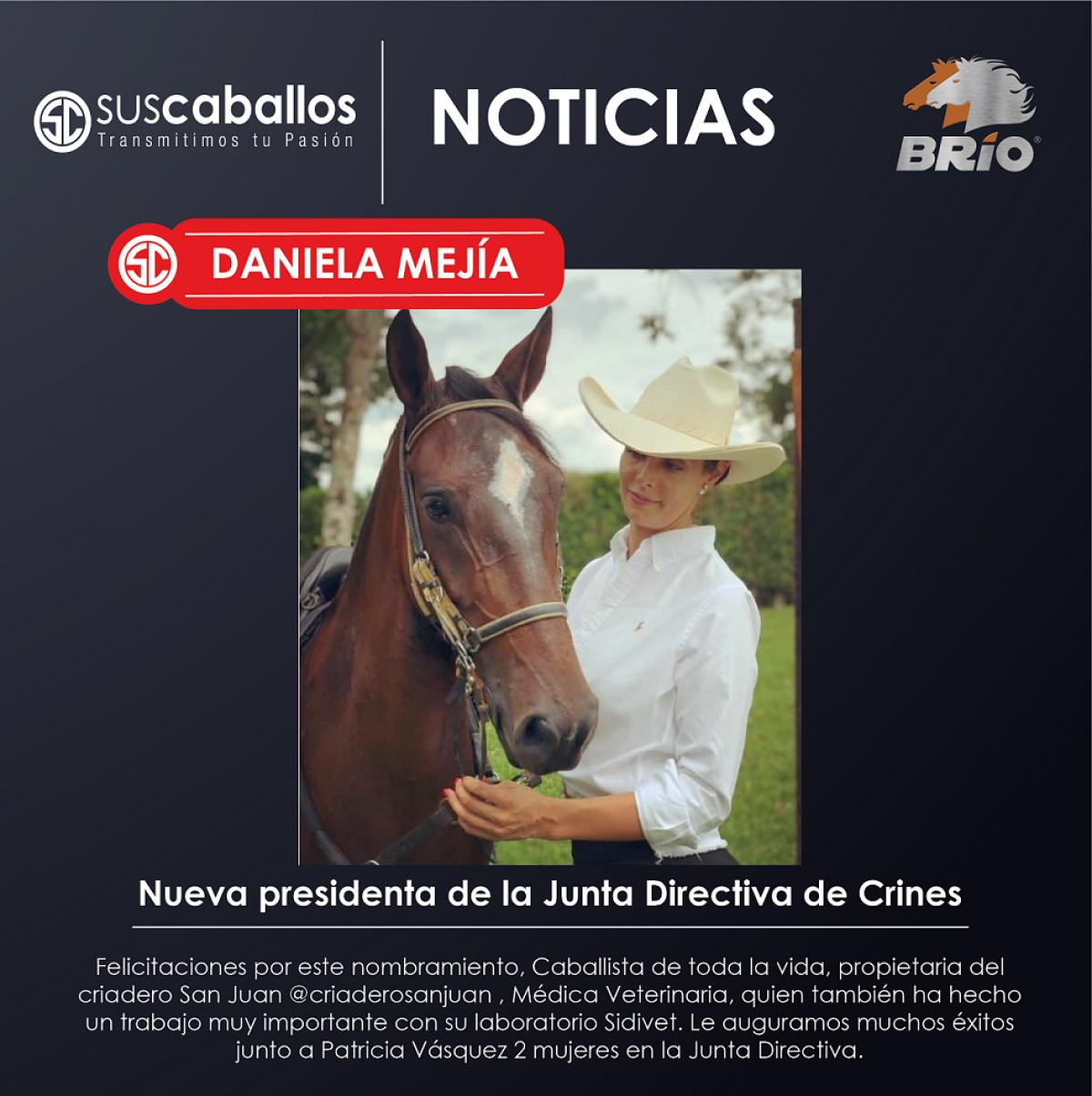 Daniela Mejía Nueva presidenta de la Junta Directiva de Crines Pereira