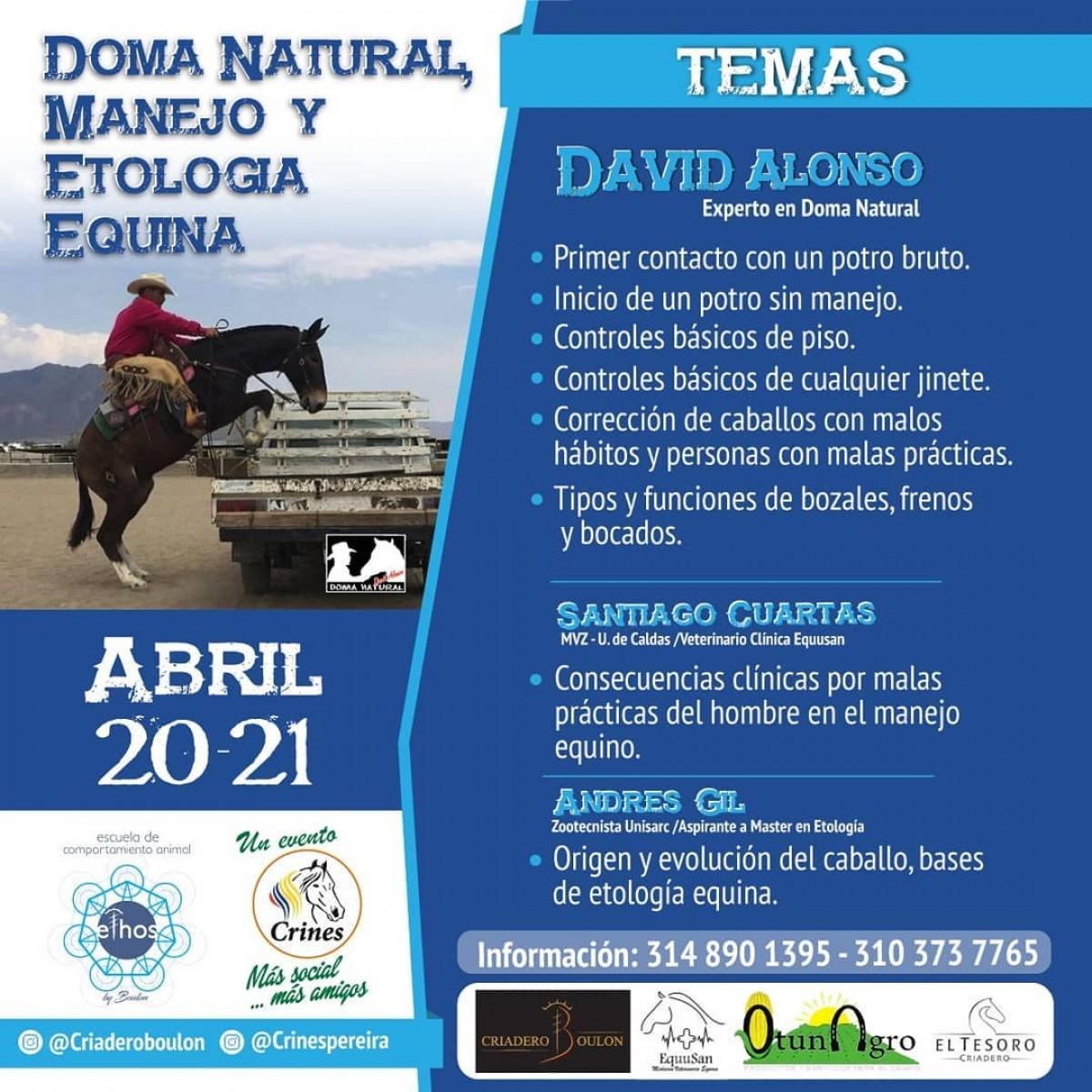 Doma Natural, Manejo y Etología Equina 20 y 21 de Abril