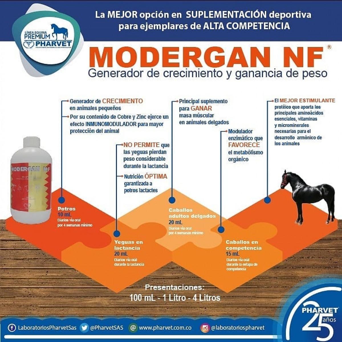 MODERGAN NF - Solución oral indicada para equinos