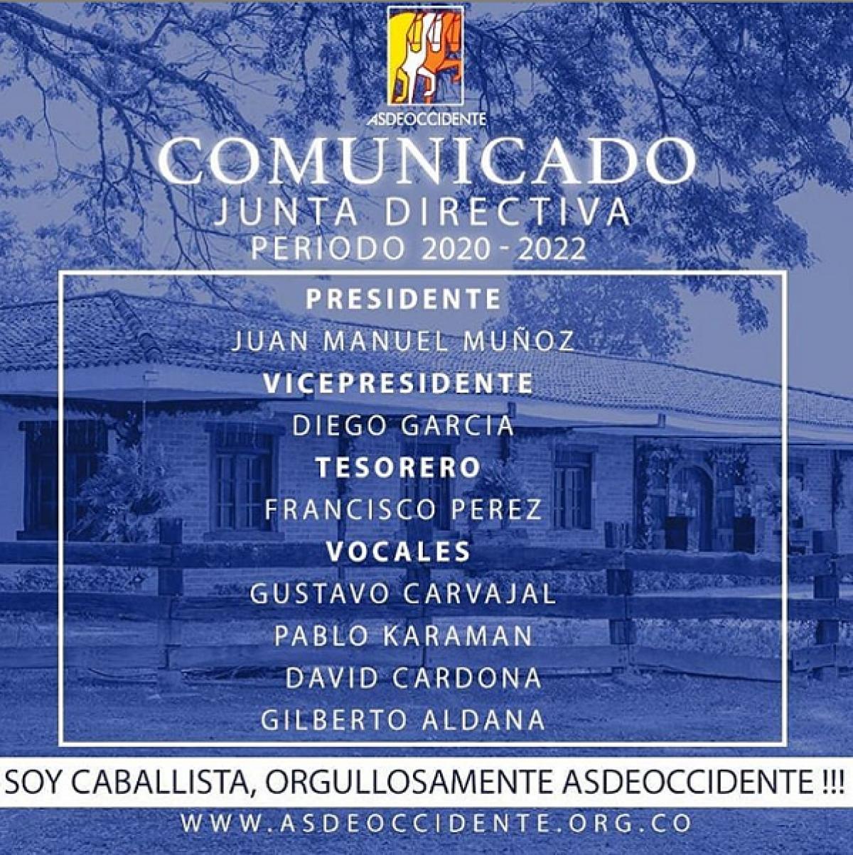 Comunicado: Junta Directiva Período 2020-2022