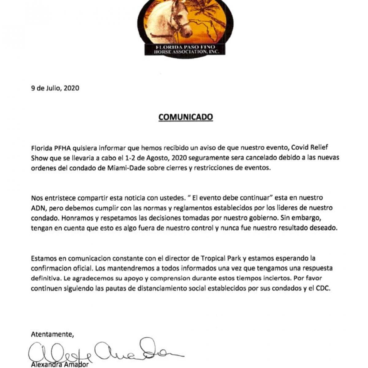 Comunicado Oficial Florida PFHA