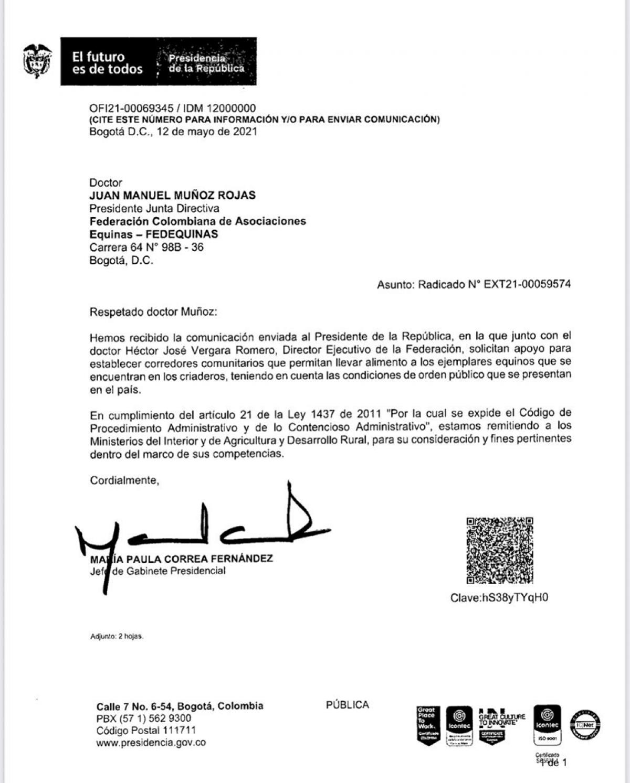 Esta carta está dirigida a FEDEQUINAS , MINISTERIO DE AGRICULTURA Y DEL INTERIOR .