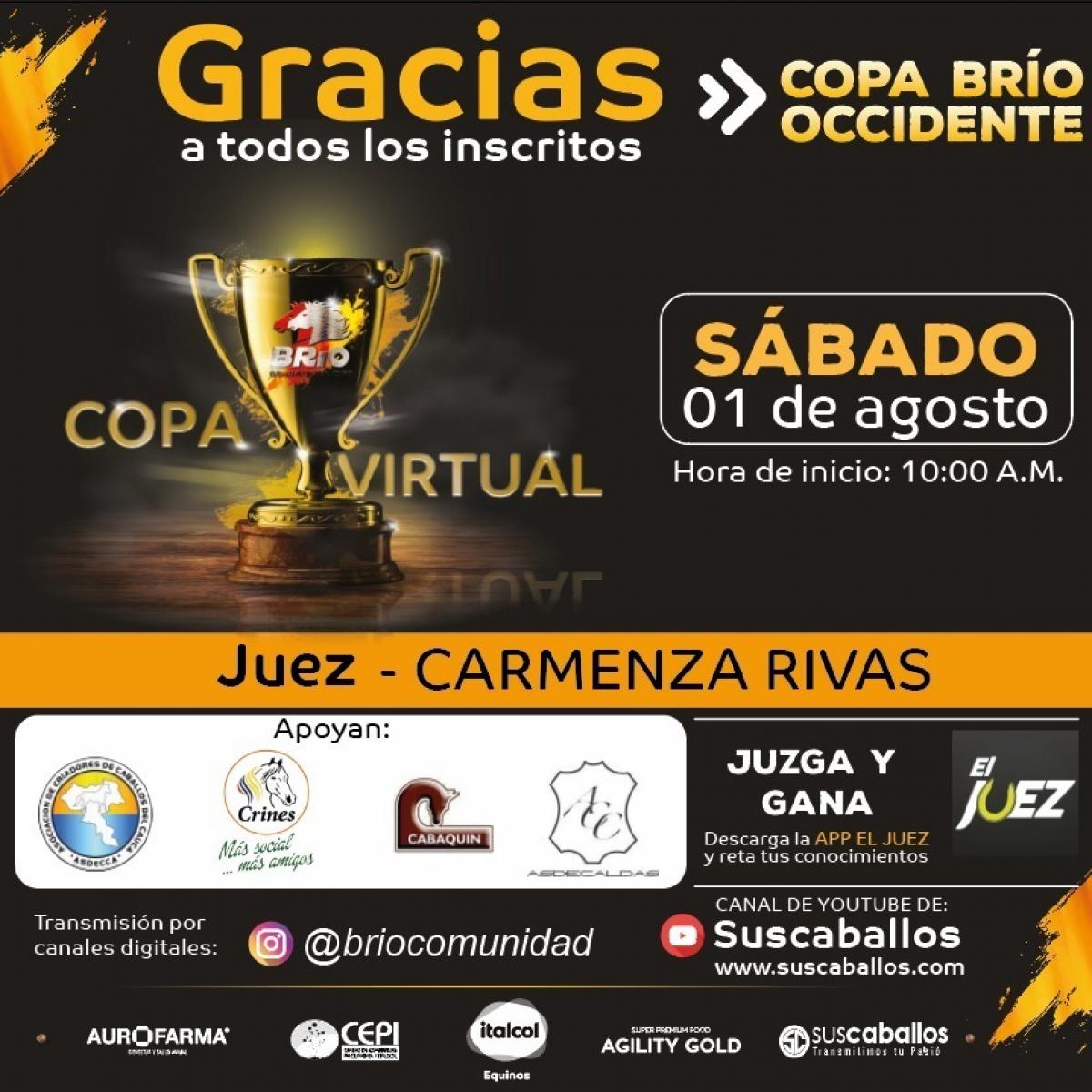 COPA VIRTUAL BRIO OCCIDENTE- Este sábado 1 de agosto