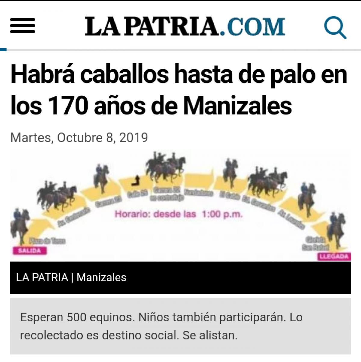 Habrá Caballos Hasta de Palo En Los 170 años de Manizales