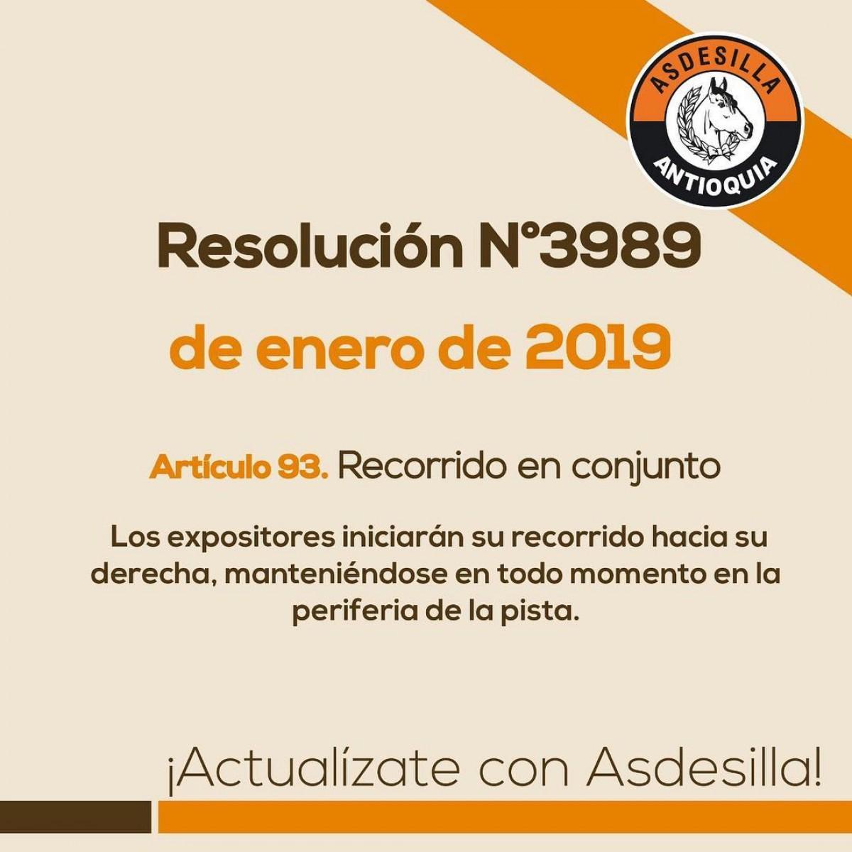 Articulo 93: Recorrido en Conjunto, Resolución de Enero del 2019