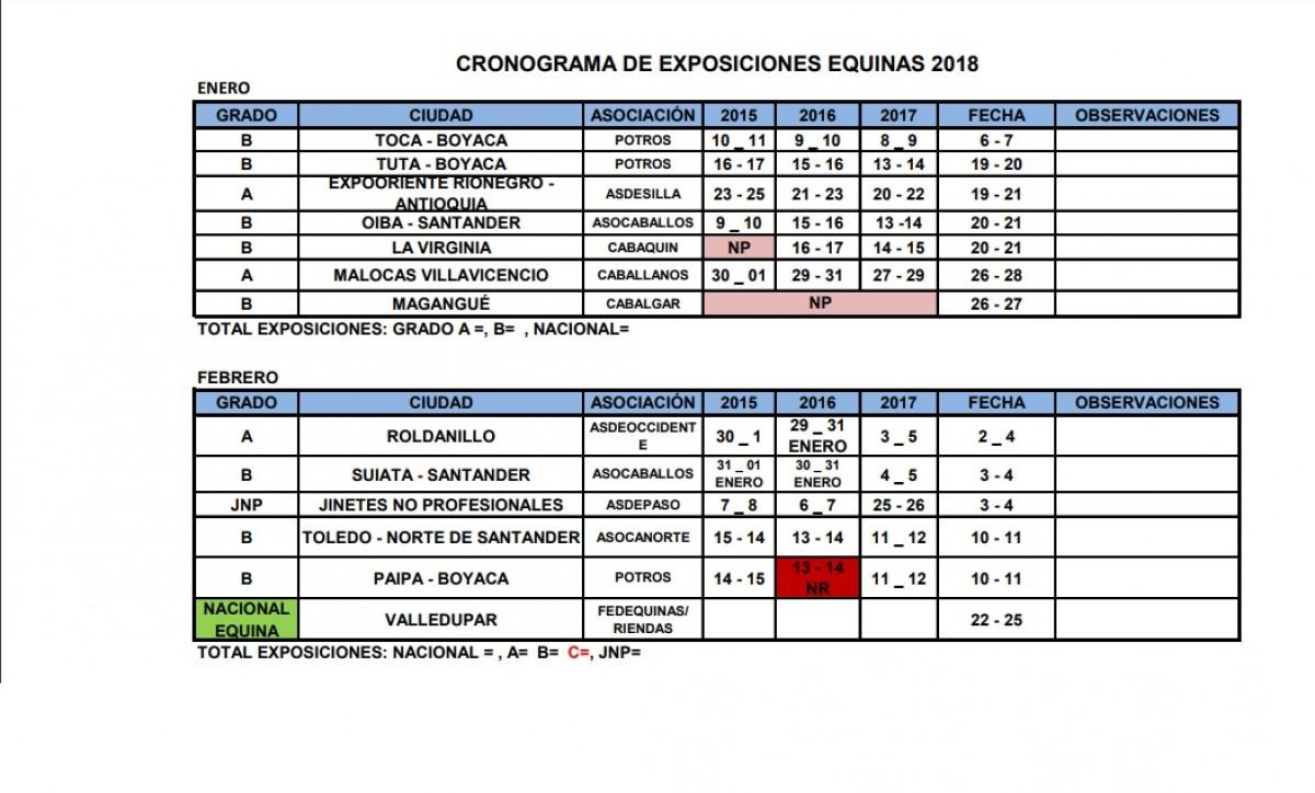 Calendario de Exposiciones Equina 2018