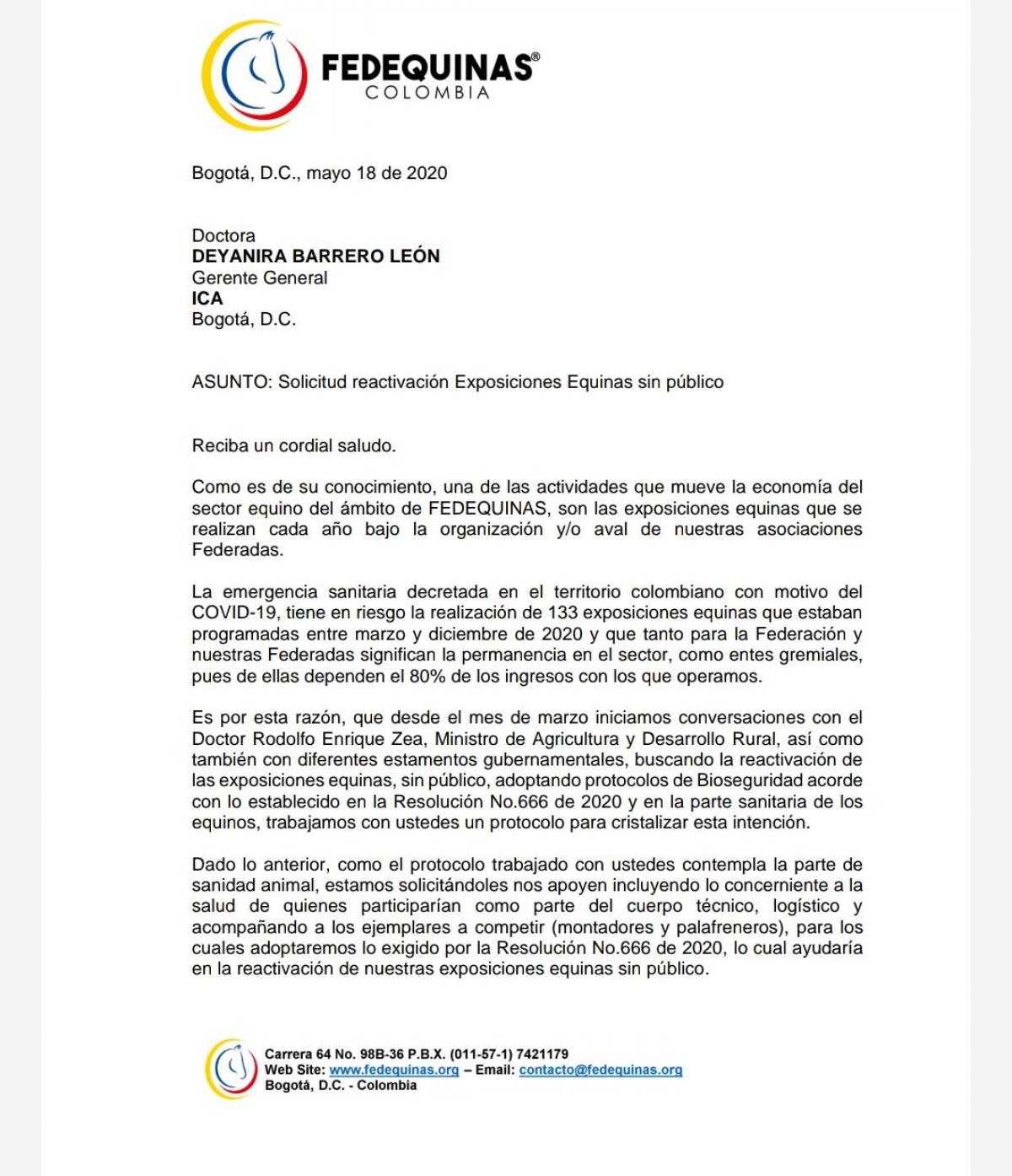 Circular externa de @icacolombia No. 004 en la cual acogen la solicitud de @fedequinas.oficial y da los lineamientos para eventos equinos sin público.