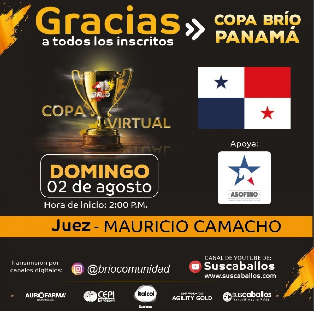 Transmisión COPA BRÍO PANAMÁ domingo 2 de agosto