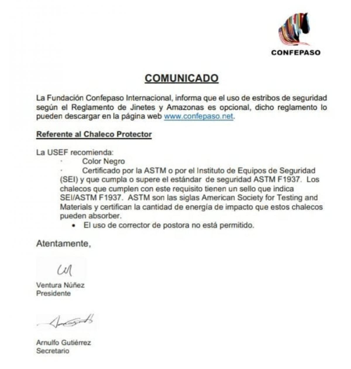 """Comunicado-Mundial de Jinetes y Amazonas """"Felix Santiago Oliver""""- Colombia 2020"""