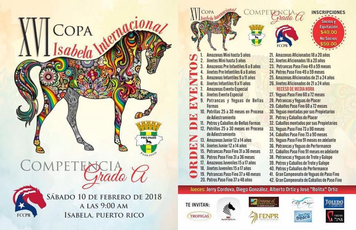 RESULTADOS XVI Copa de Paso Fino Isabela Internacional 2018, Puerto Rico