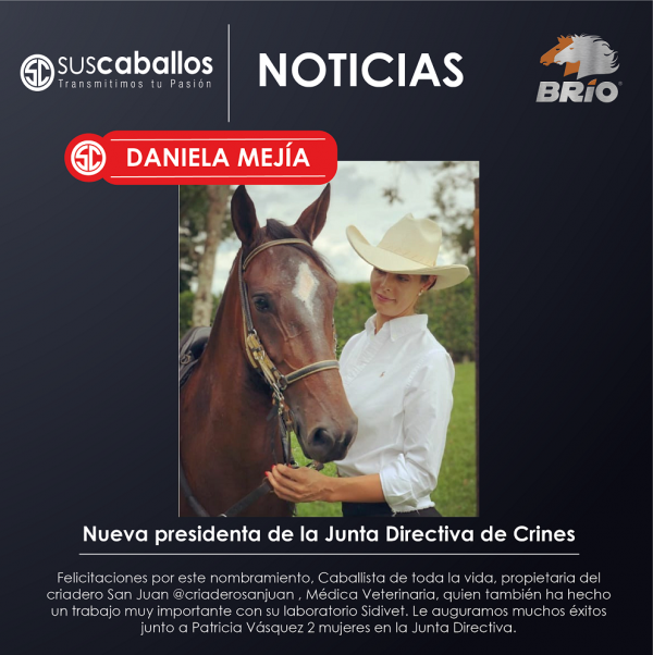 http://www.suscaballos.com/Daniela Mejía Nueva presidenta de la Junta Directiva de Crines Pereira