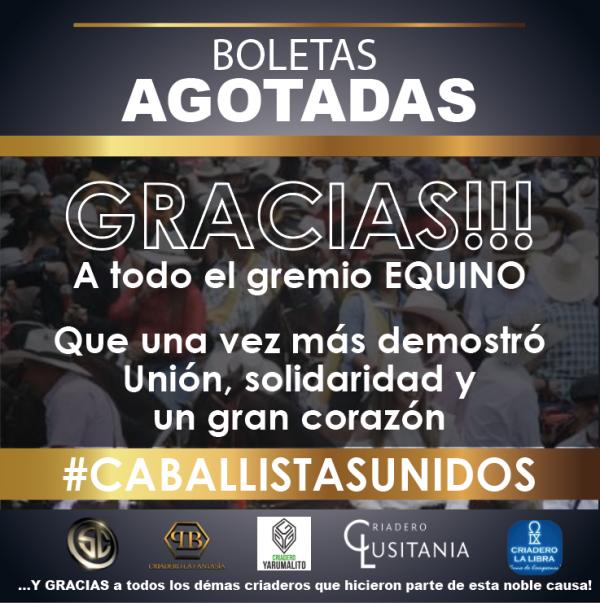 http://suscaballos.com/Boletas AGOTADAS - GRACIAS!!! A todo el gremio EQUINO