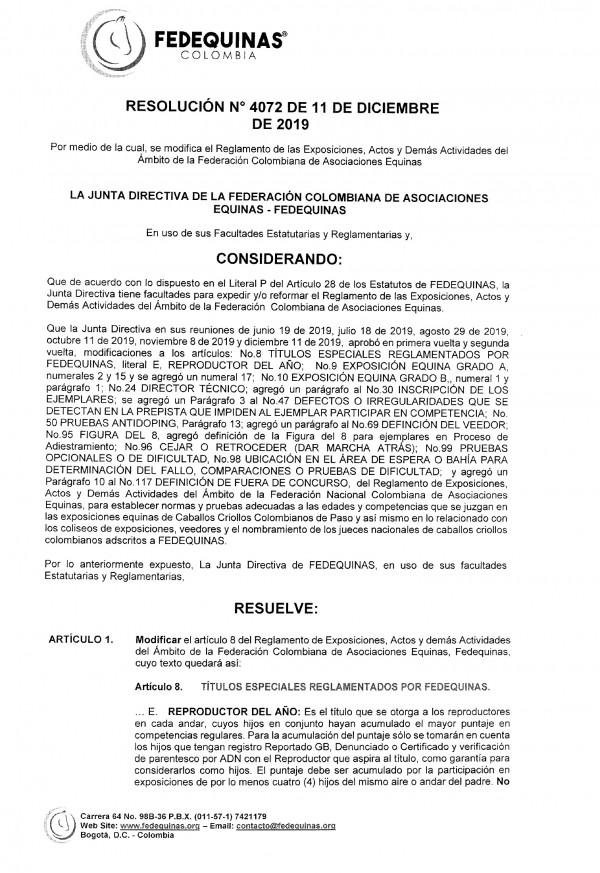 http://suscaballos.com/Resolución 4072 Entrará En Vigencia El 26 de Febrero En la Nacional Equina 2020