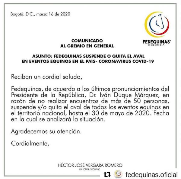 http://suscaballos.com/Comunicado de la Federación al gremio en general