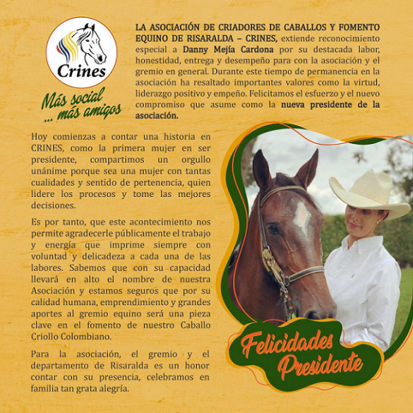 http://www.suscaballos.com/Reconocimiento a Danny Mejía Cardona presidenta de la Asociación @crinespereira