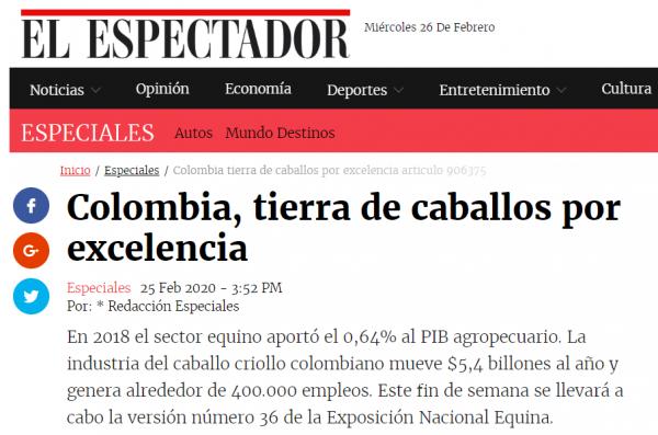 http://suscaballos.com/Colombia, tierra de caballos por excelencia - Art: El Espectador