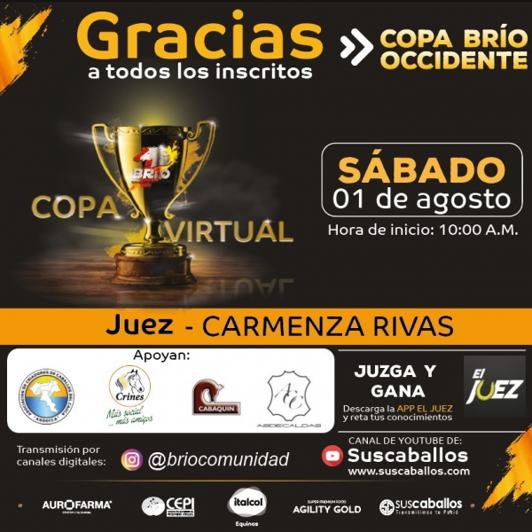 http://suscaballos.com/COPA VIRTUAL BRIO OCCIDENTE- Este sábado 1 de agosto