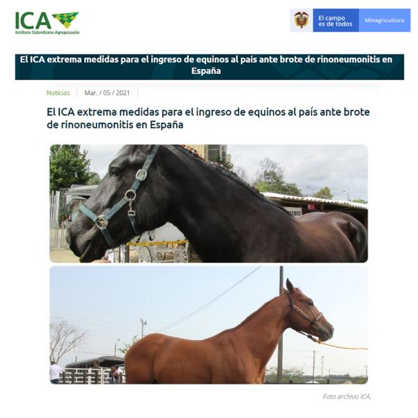 https://suscaballos.com/El ICA extrema medidas para el ingreso de equinos al país ante brote de rinoneumonitis en España