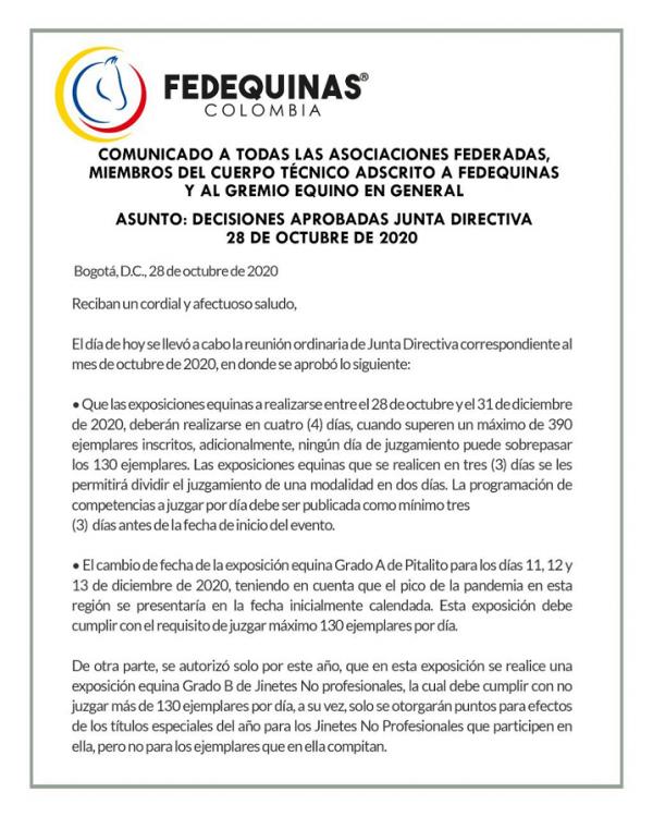 https://suscaballos.com/Comunicado de la Federación al Gremio en general  Fedequinas