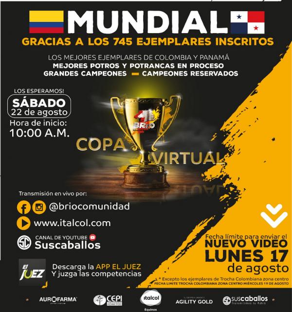 http://suscaballos.com/Los mejores ejemplares de Colombia y Panamá estarán en la COPA MUNDIAL BRÍO