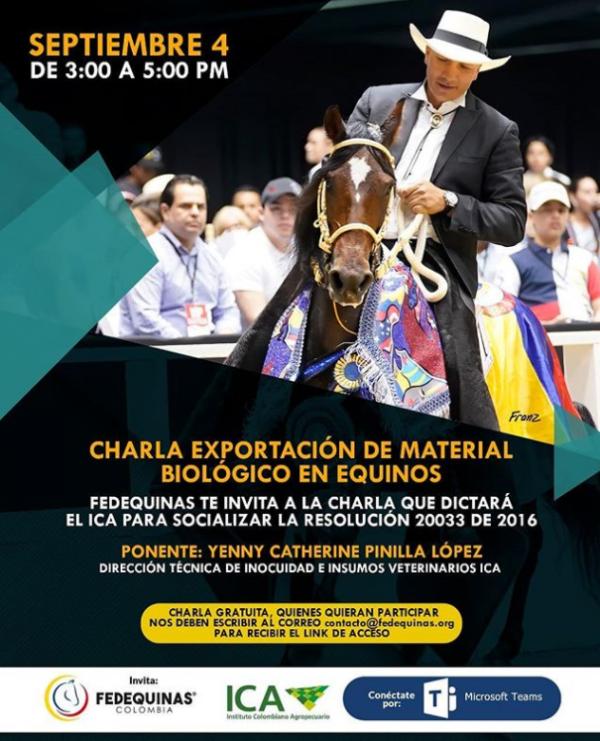 http://www.suscaballos.com/Los invitamos a la charla virtual gratuita que dictará el@icacolombiasobre exportación de Material Biológico