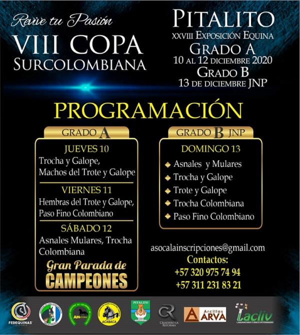 http://www.suscaballos.com/Programación VIII COPA SURCOLOMBIANA - Pitalito Grado A Los días 10, 11 y 12 de diciembre y Grado B JNP el día 13 de diciembre.