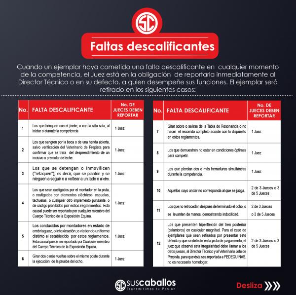 http://www.suscaballos.com/Faltas descalificantes en competencia