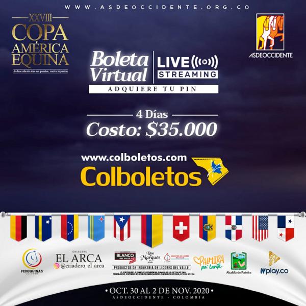 http://suscaballos.com/XXVIII Copa América Equina del 30 de octubre al 2 de noviembre de 2020.