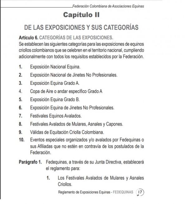 http://www.suscaballos.com/Reglamento Fedequinas: Categoría Exposiciones, Horarios Y Honorarios